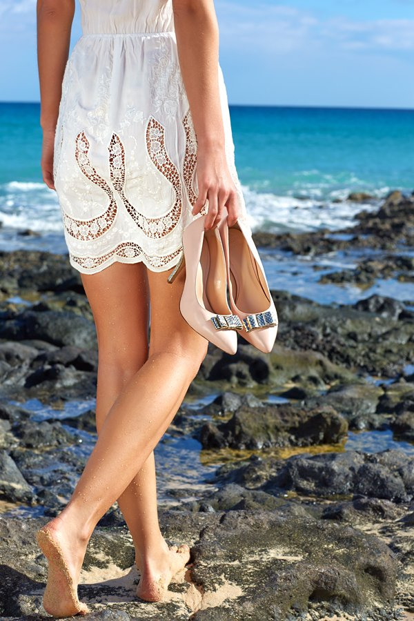 Schuhe mit langen Beinen fotografieren